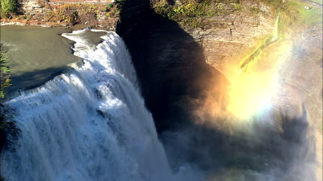 middle falls  - aerial view - new york,  livingston county,  united states - niagara falls stock videos & royalty-free footage