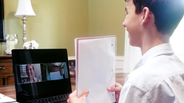 A middle school boy participates in video call with his teacher while distance learning During the COVID-19 pandemic, a confident middle school boy shows his teacher his homework assignment while participating in a video call. middle school teacher stock videos & royalty-free footage