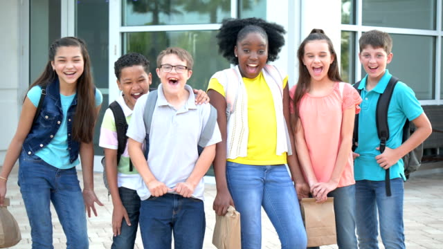 Middle school students, boy with down syndrome