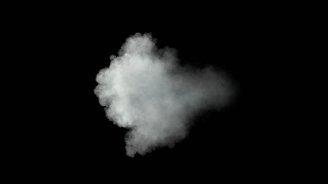 Middle size smoke puff / dust puff (with alpha channel). Separated on pure black background. gun stock videos & royalty-free footage