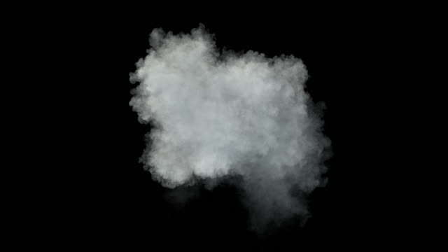 Middle size smoke puff / dust puff (with alpha channel). Separated on pure black background. steam stock videos & royalty-free footage