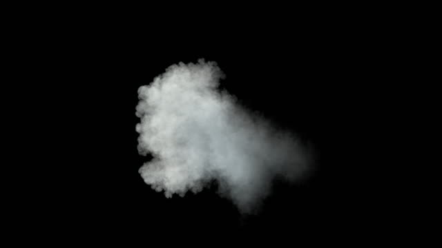 middle size smoke puff / dust puff (with alpha channel). - смог над городом стоковые видео и кадры b-roll