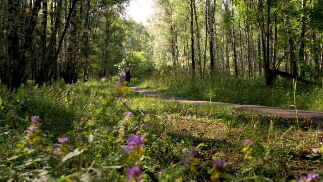 en medelålders man, körs snabbt längs stigen i skogen. en vacker solig dag. - tävlingsdistans bildbanksvideor och videomaterial från bakom kulisserna