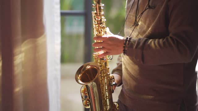 midsection asian chinese mid adult man practicing saxophone at living room