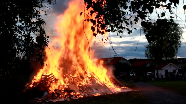 Midsummer bonfire. video