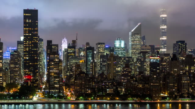 Midtown Manhattan Skyline at Night Timelapse video