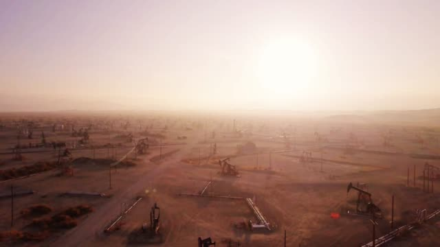 Midway-Sunset Oil Field, Kern County, California at Sunset - Drone Shot video