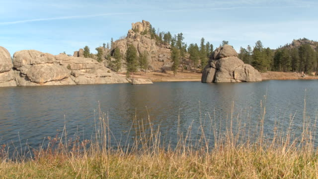 Mighty rock formations on Sylvan Lake shoreline in Black Hills Custer State Park