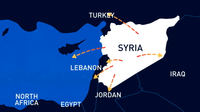 vídeos de stock e filmes b-roll de migration routes of syrian people - animated infographic map - síria