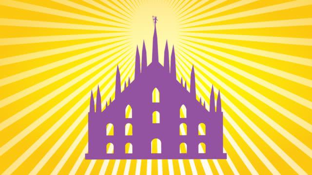milan cathedral design - milan fiorentina video stock e b–roll
