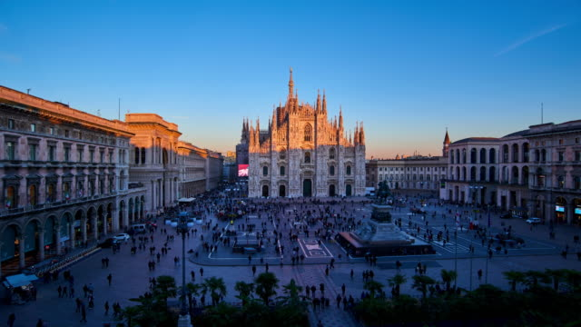 4k: milan piazza del duomo at day to night time lapse, italy - cathedrals stock videos & royalty-free footage