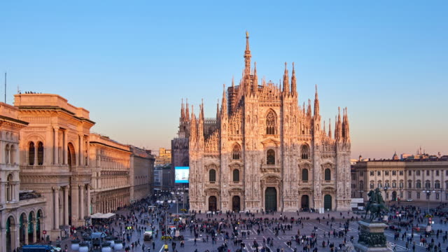 4K: Milan Piazza Del Duomo at Day To Sunset Time Lapse, Milan, Italy