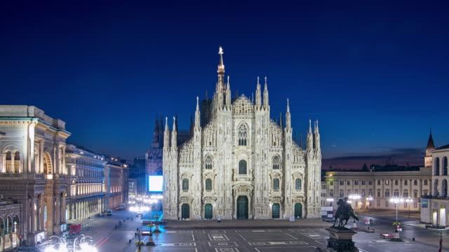 4K: Milan Piazza Del Duomo at Night To Day Time Lapse, Milan, Italy