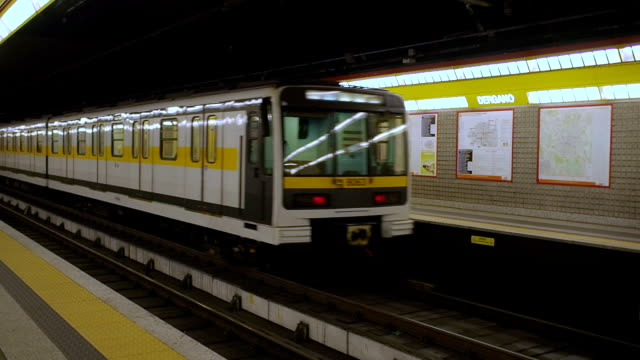milan subway - milan railway video stock e b–roll