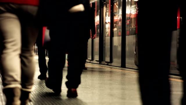 Milano Commuters Leaving a Metro Train video