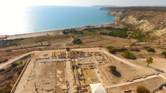 Military Base on the Edge of Cyprus Island. Cyprus. Aerial drone shot. video