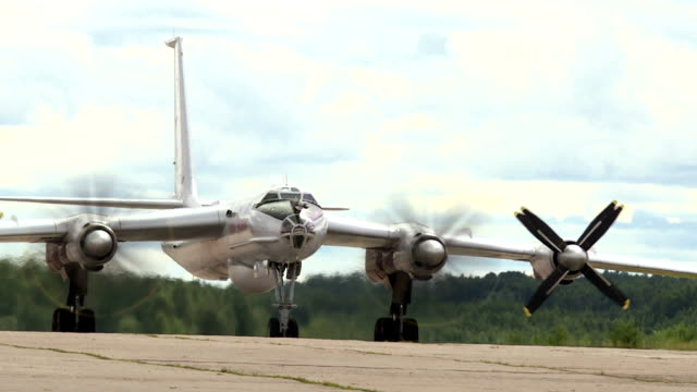 Military bomber on the runway. Military aircraft.