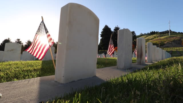 military cemetery decorated for memorial day - memorial day стоковые видео и кадры b-roll