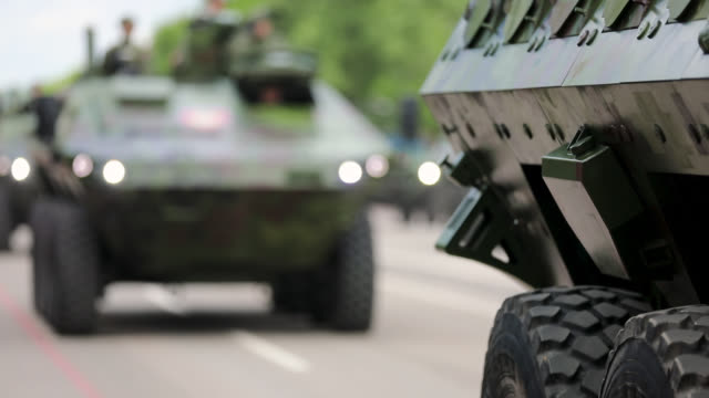 Military Convoy Passing Through the Town video