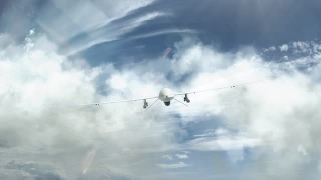 Military Drone Approaching Through the Clouds video