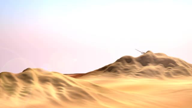 Military drone (UAV) flying over the desert video