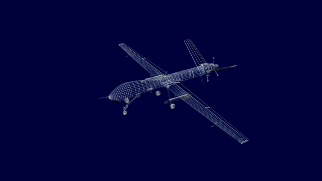 Military drone technical blueprint video video