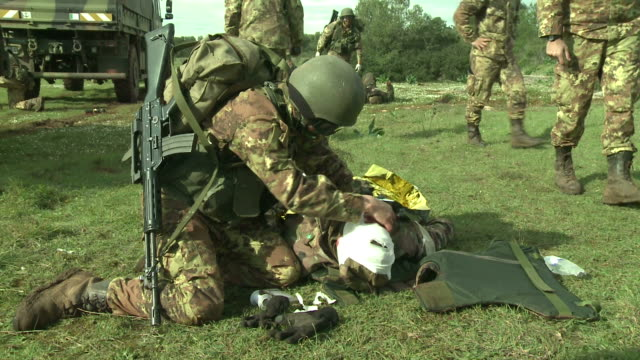Military education and training - bandage on his head video