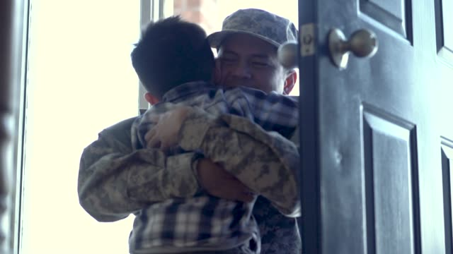 military father returning home - military lifestyle stock videos & royalty-free footage
