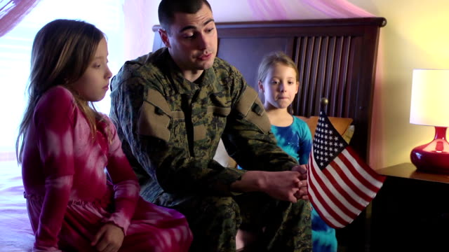 Military Father Talks about the US Flag with Daughters video