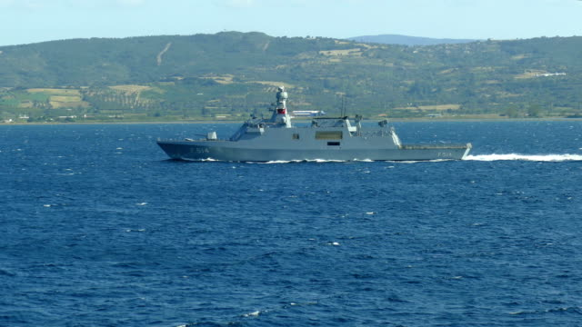 military frigate in the Dardanelles video