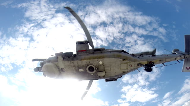 S-70B-28 SEAHAWK military helicopter from low angle shot video