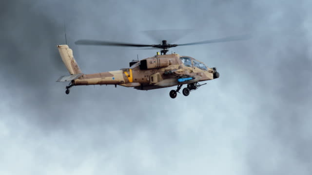 Military helicopter in combat flight video