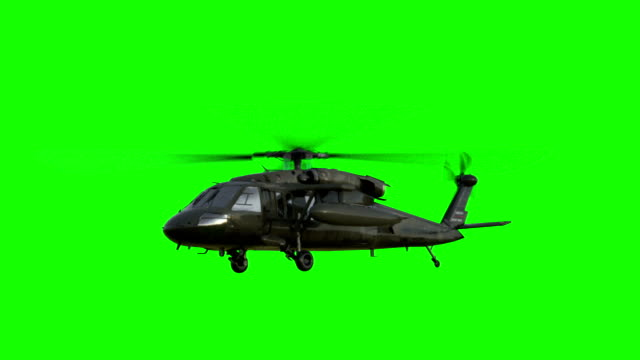 Military helicopter UH-60 Black Hawk realistic 3d animation. Realistic reflections, shadows and motion