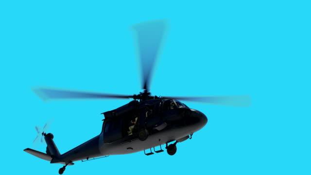 軍用ヘリコプターuh-60ブラックホークリアルな3dアニメーション - ヘリコプター点の映像素材/bロール