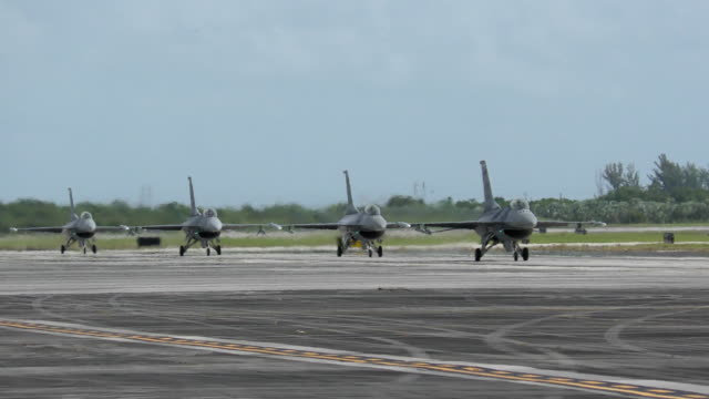 Military jets taxiing on the ground