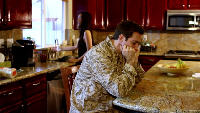 Military Man Stressed in the Kitchen video
