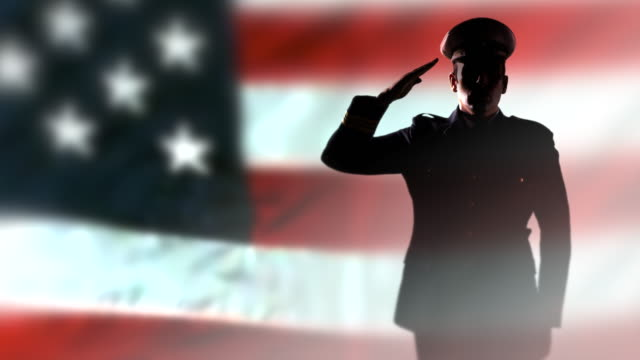 Military Officer Silhouette Soldier Salute, American USA Flag, Uniform