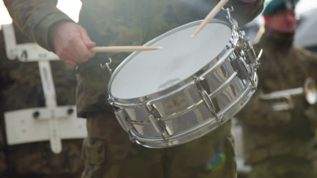 Military playing drums - audio available video