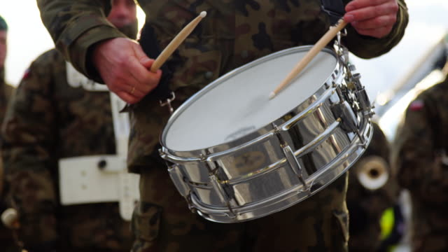 Military playing drums video