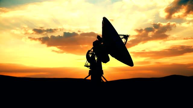 Military radar exploring evening sky against scenic sunset