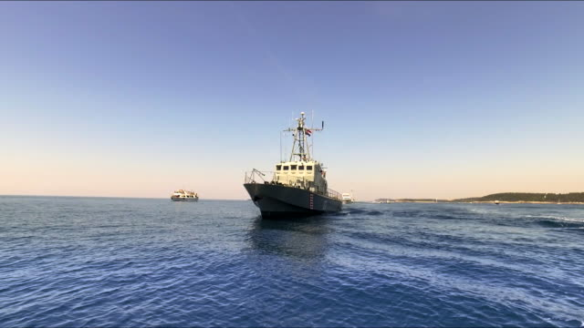 Military ship on the sea video