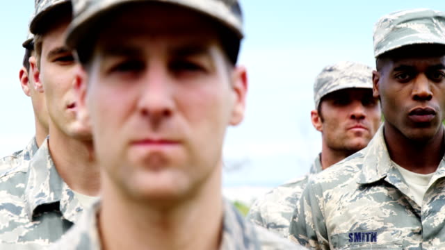 Military troops standing at boot camp 4k Close-up of military troops standing at boot camp 4k military uniform stock videos & royalty-free footage