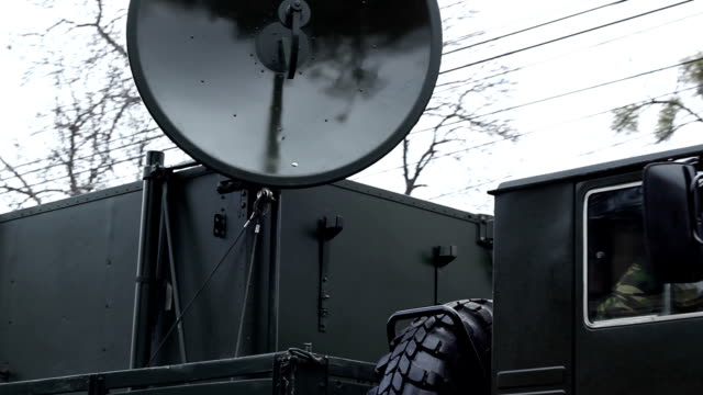 Military Truck Radio Device Army communication radio unit mounted on a truck. telephone receiver stock videos & royalty-free footage