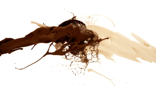 milk and chocolate splash in slow motion. white and dark liquid collision - cioccolato video stock e b–roll