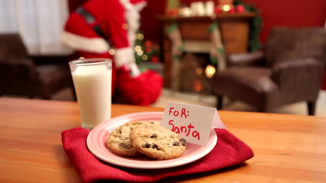 Milk and Cookies for Santa Claus Milk and Cookies for Santa Claus cookie stock videos & royalty-free footage