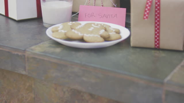 Milk and cookies with presents for Santa by the Christmas tree video