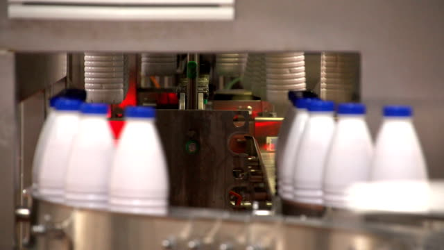 Milk bottles and moved down and placed on a conveyor line by a robot at a plant video