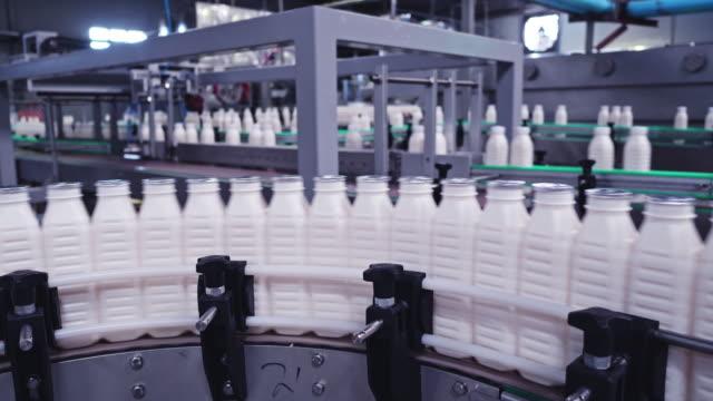 vídeos y material grabado en eventos de stock de botellas de leche hacer viaje a las secciones de empaque en una fábrica lechera - producto lácteo