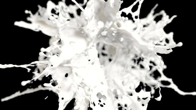 Milk explosion on black background cg ,slow motion, with alpha matte, full hd splashing stock videos & royalty-free footage