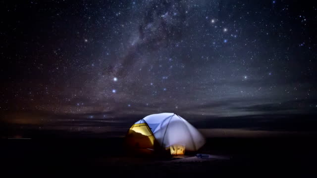 Milky Way above tent / Time Lapse (Salar De Uyuni, Bolivia) Night sky above tent set up on the world's largest salt flat - Salar de Uyuni in Bolivia. Shot in September 2014. salt flat stock videos & royalty-free footage